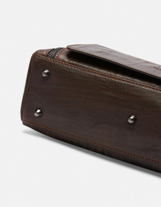 Tracolla Bourbon messenger grande con tasca frontale a zip  Cuoieria Fiorentina
