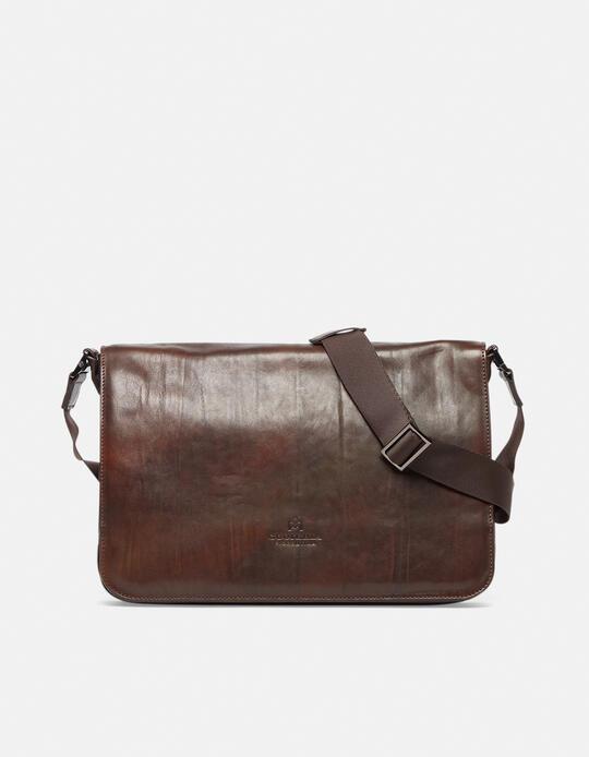 Bourbon leather large messenger bag in delavé leather  Cuoieria Fiorentina