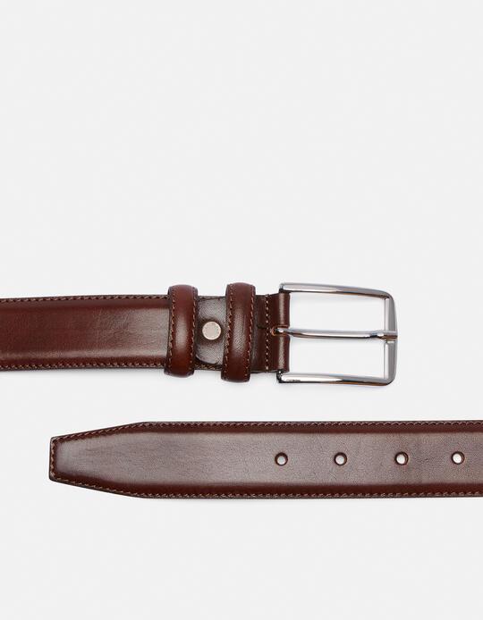 Elegant Leather Belt with squared buckle height, 3,5 cm  Cuoieria Fiorentina
