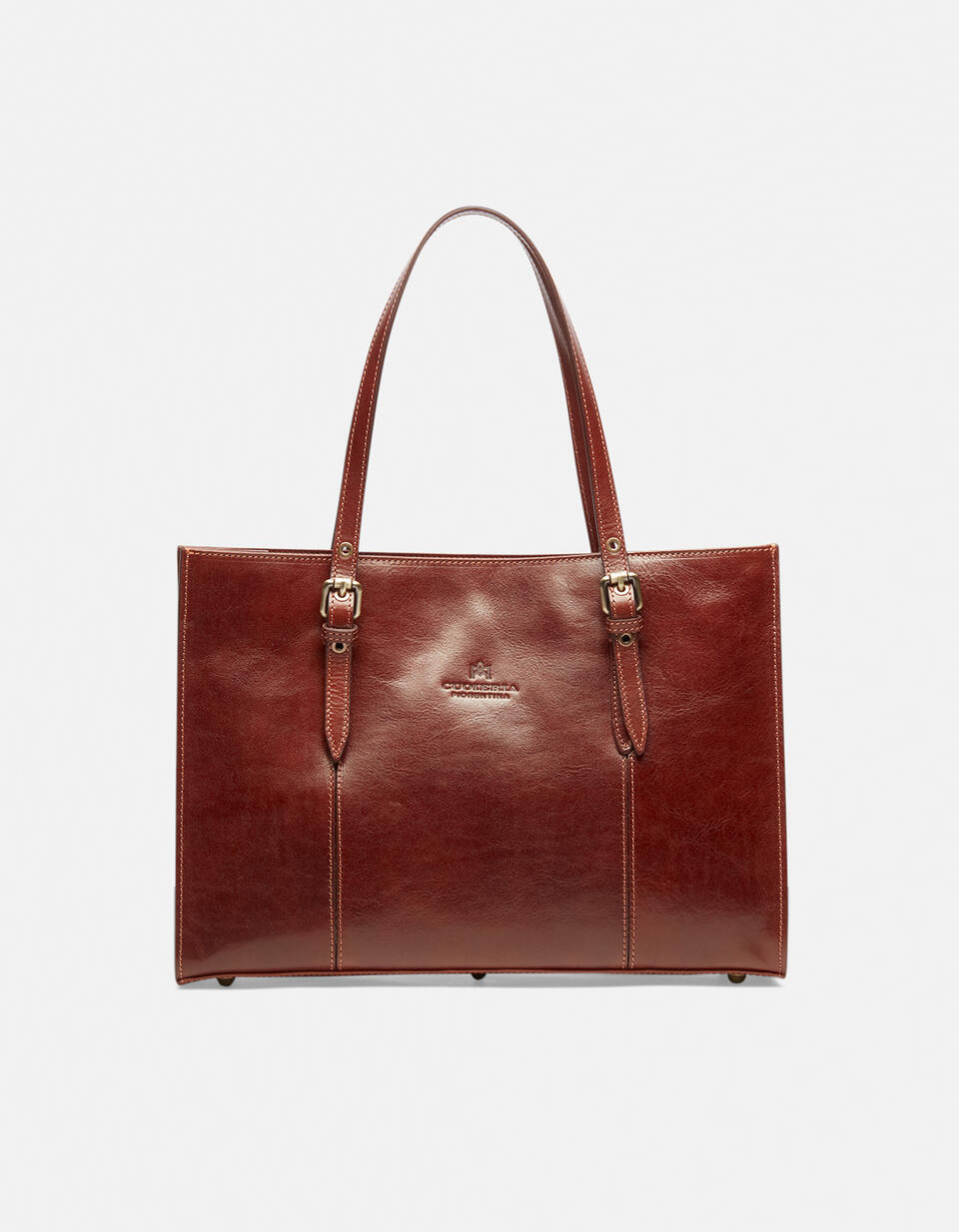 Medium leather shopping bag with adjustable buckle handles  Cuoieria Fiorentina