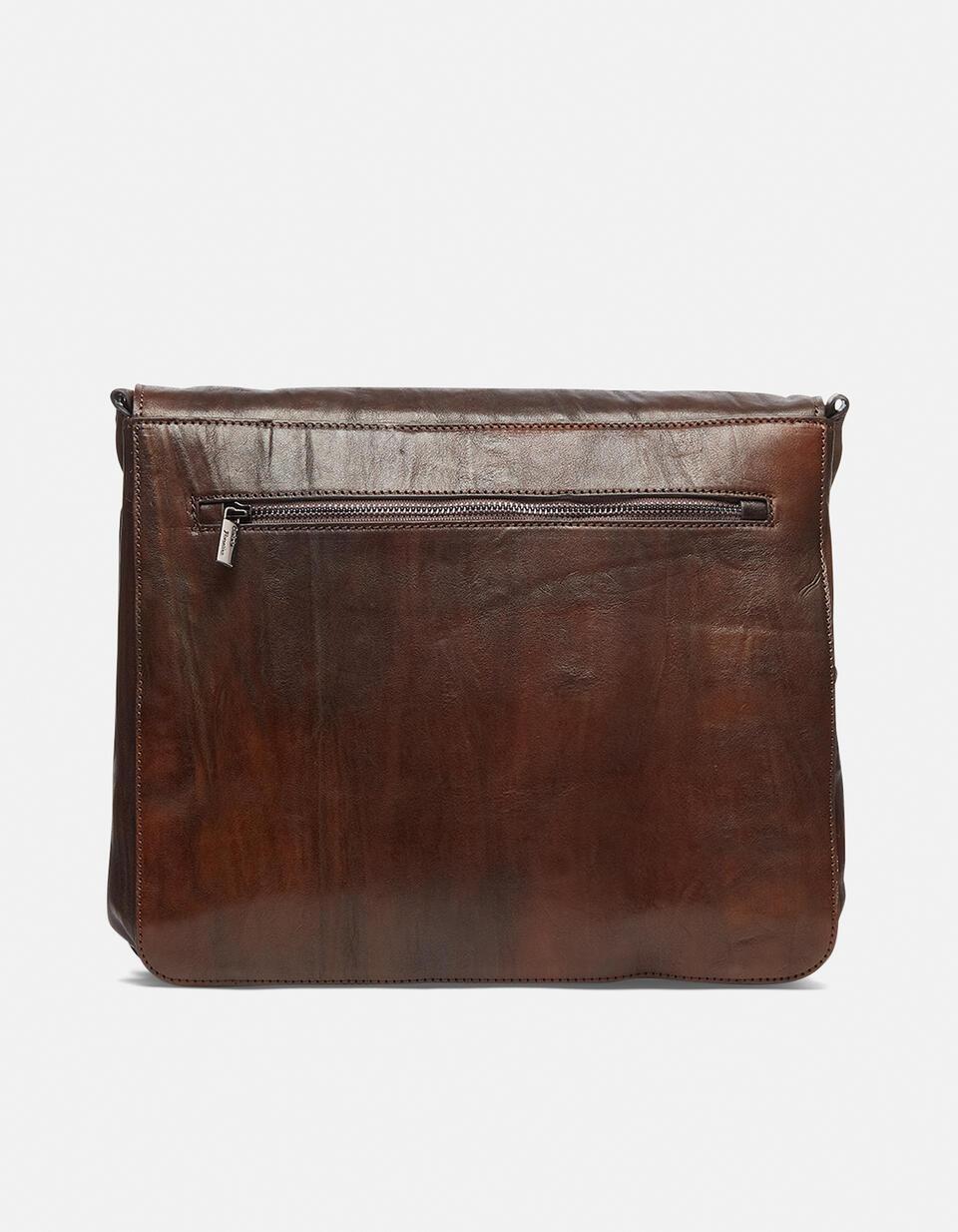 Bourbon leather medium messenger bag in shaded leather  Cuoieria Fiorentina