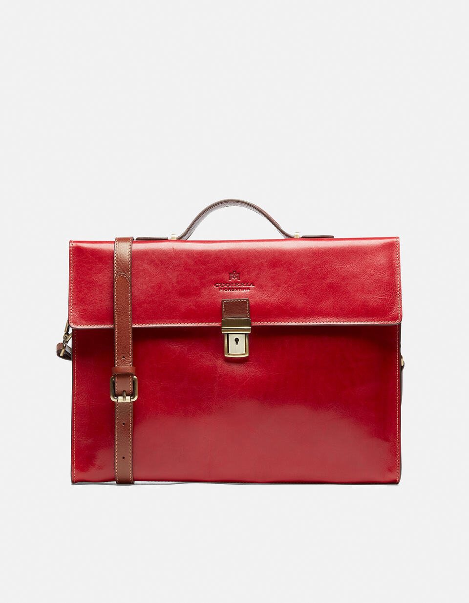 Warm and Colour leather briefcase with side zips  Cuoieria Fiorentina