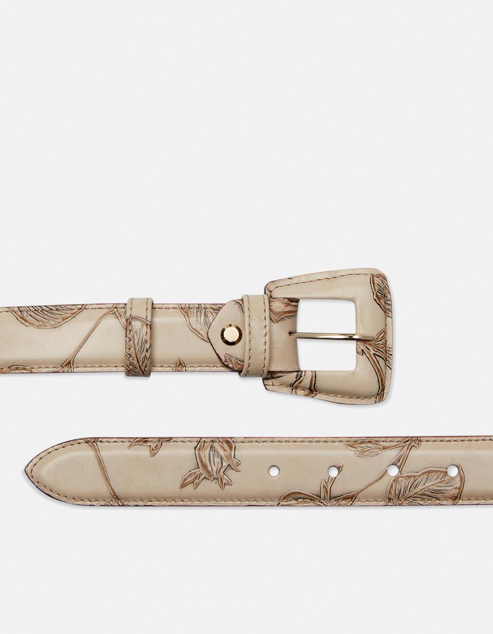 Cintura Mimì da donna media in pelle stampata a rose con fibbia fasciata  Cuoieria Fiorentina
