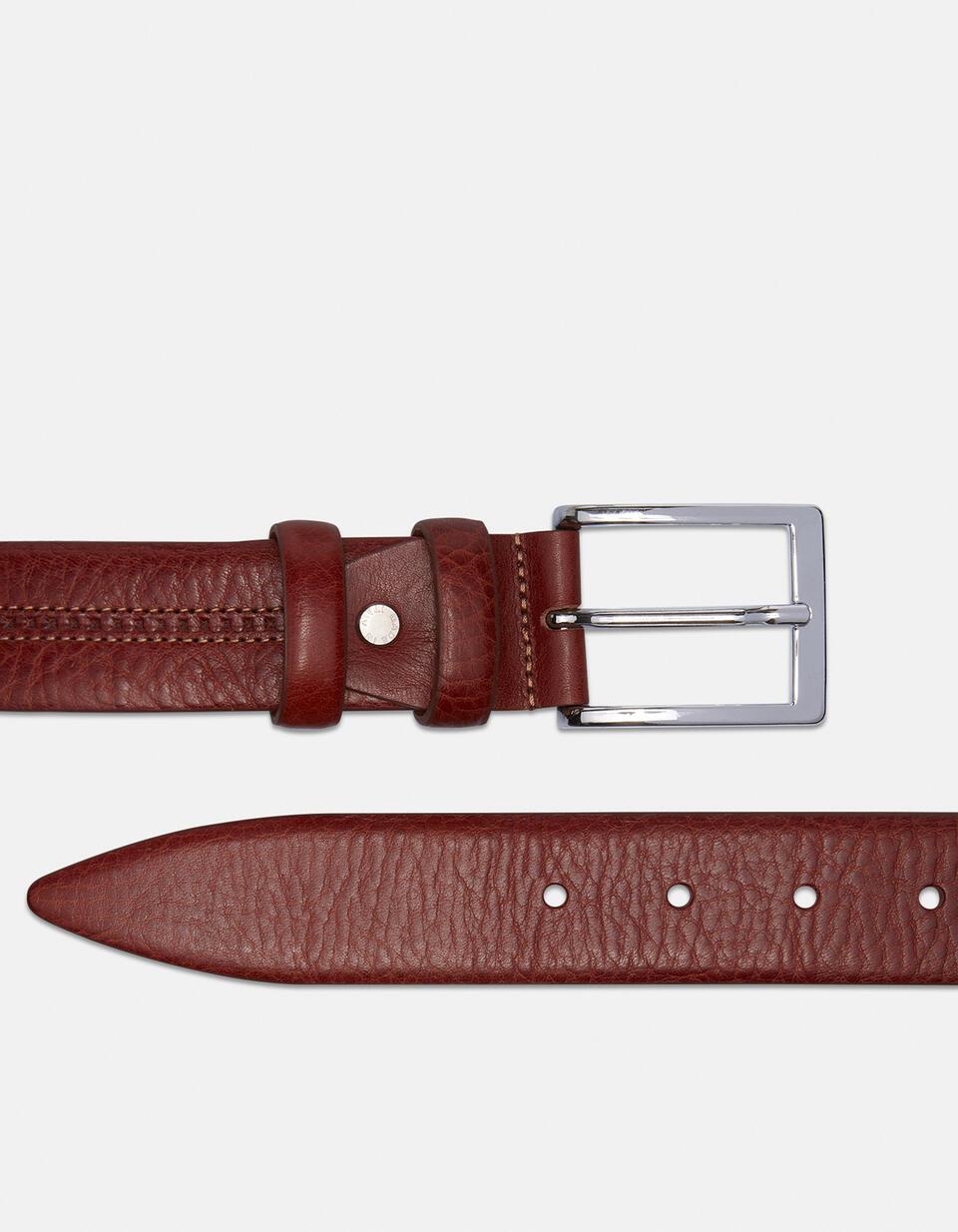 Cintura Classica in cuoio doppia cucitura centrale a contrasto  Cuoieria Fiorentina