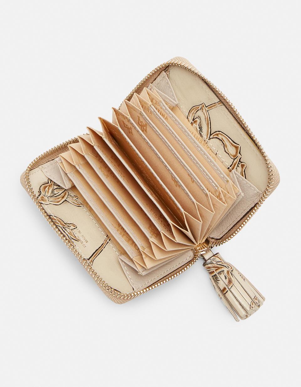 Mini accordion wallet in rose embossed printed leather  Cuoieria Fiorentina