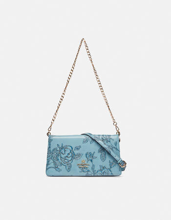 Mimì clutch bag with metal and leather shoulder straps