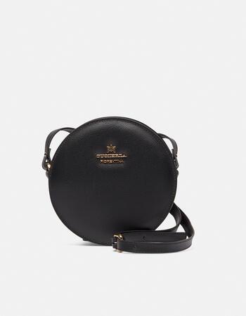 Round palmellated calfskin bell shoulder bag