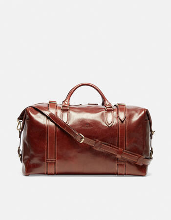 Warm and colour leather travel bag with two handles
