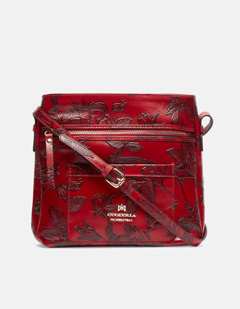 Small shoulder bag in rose embossed printed leather