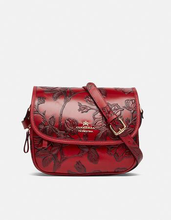 Messenger mimì bag in rose embossed printed calfleather