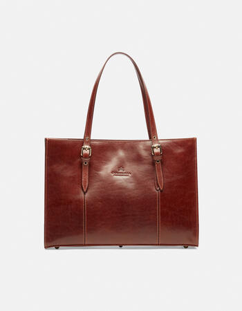 Medium leather shopping bag with adjustable buckle handles