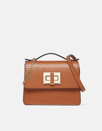 Crossbody mini alice clutch model with two-material shoulder strap