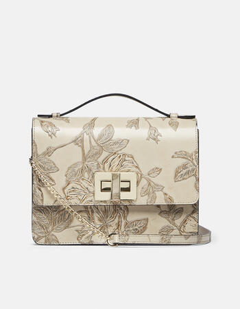 Large mimì clutch bag with fixed shoulder strap in leather and metal