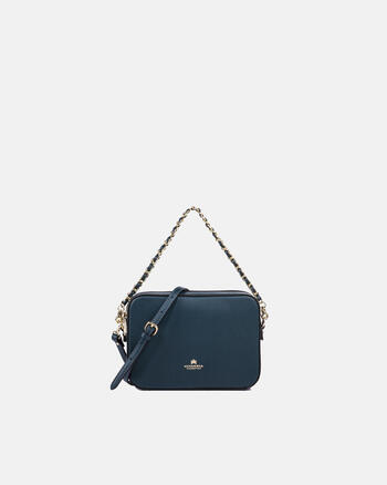 Bella clutch bag with leather and metal shoulder straps