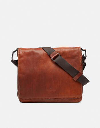 Bourbon leather medium messenger bag in shaded leather