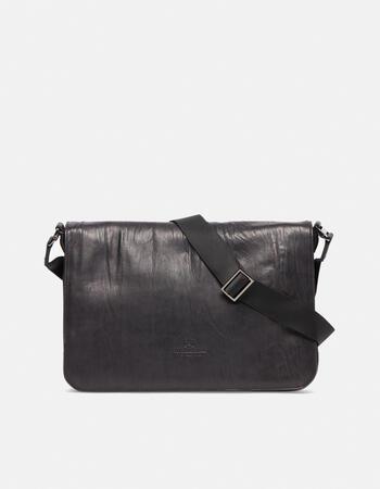 Bourbon leather large messenger bag in delavé leather