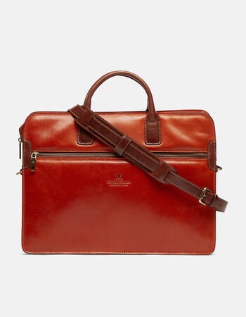 Warm and colour leather briefcase with double handles