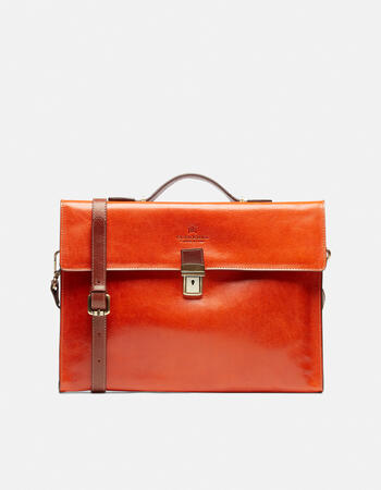 Warm and colour leather briefcase with side zips