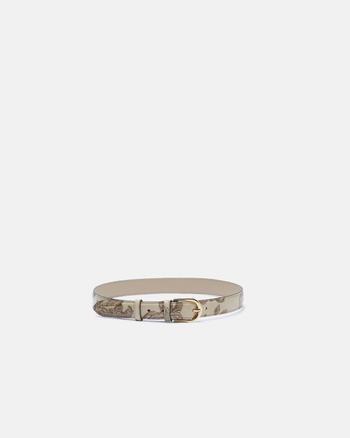 Medium mimì women's belt in rose embossed printed leather