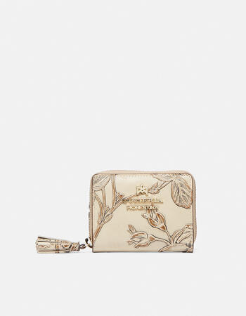 Mini accordion wallet in rose embossed printed leather