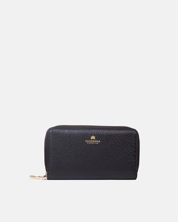 Large double zip around velvet wallet