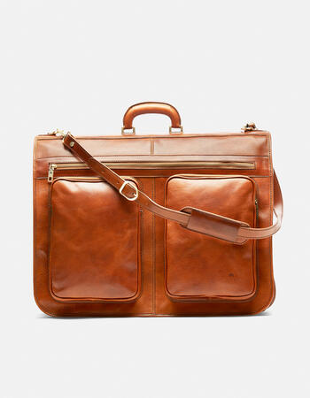 Oxford travel garment bag in vegetable tanned leather