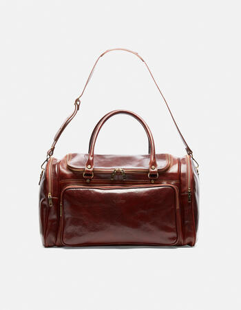 Oxford tanned leather travel bag with zip closure and shoulder strap