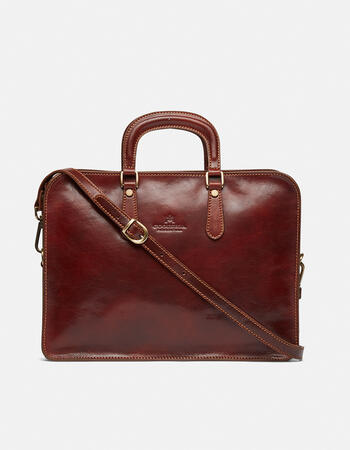 Leather 17 laptop briefcase in tanned vegetable