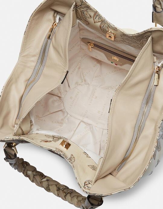 Mimì Shoulder bag with double braided handles Mimì TAUPE Cuoieria Fiorentina