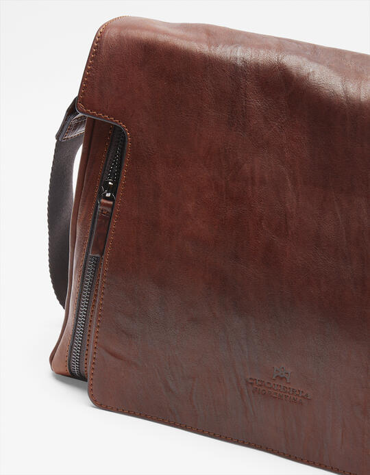 Tracolla Bourbon messenger grande con tasca frontale a zip MARRONE Cuoieria Fiorentina