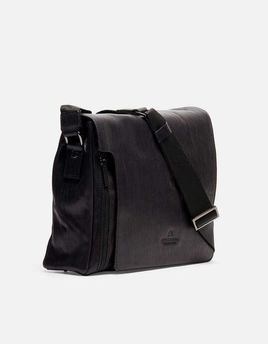 Tracolla Bourbon messenger grande con tasca frontale a zip NERO Cuoieria Fiorentina