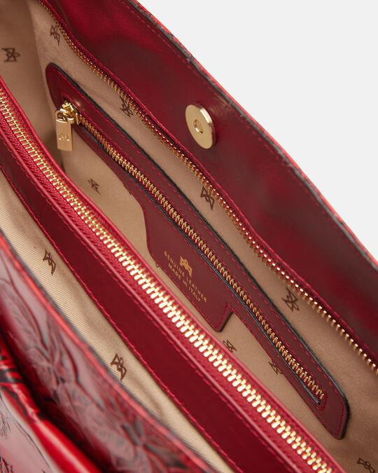 Big Mimì shopping bag keystone design ROSSO Cuoieria Fiorentina