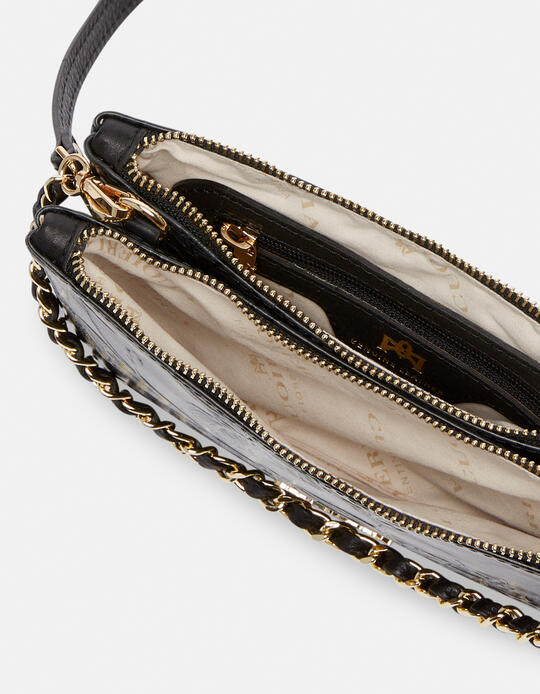 Double clutch bag in rose embossed printed leather NERO Cuoieria Fiorentina