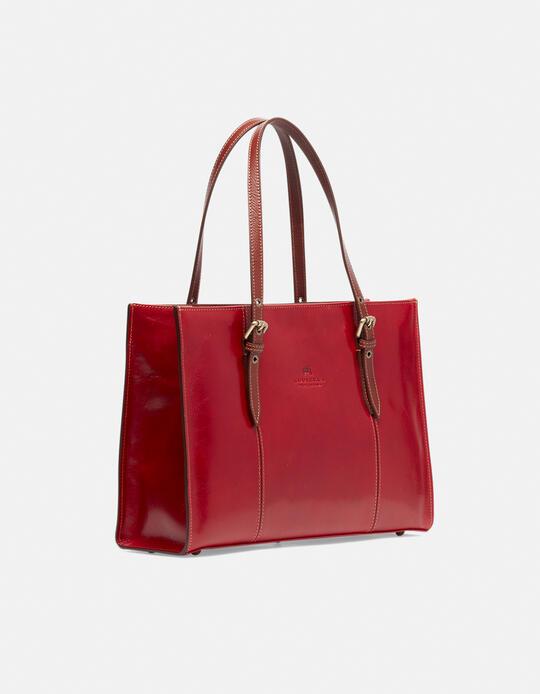 Medium leather shopping bag with adjustable buckle handles ROSSOBICOLORE Cuoieria Fiorentina