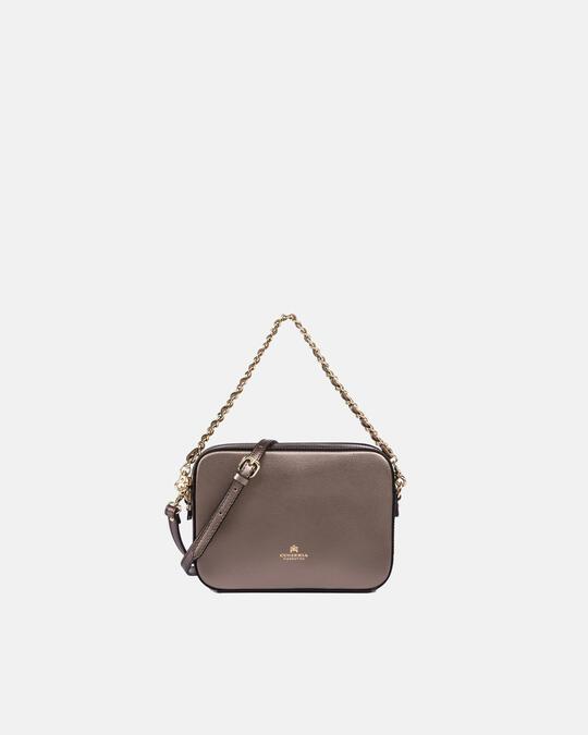 Bella clutch bag con tracolla in pelle e metallo BRONZO Cuoieria Fiorentina