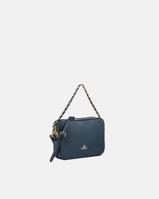 Bella clutch bag con tracolla in pelle e metallo PETROLIO Cuoieria Fiorentina