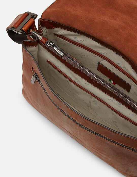 Bourbon leather medium messenger bag in shaded leather MARRONE Cuoieria Fiorentina