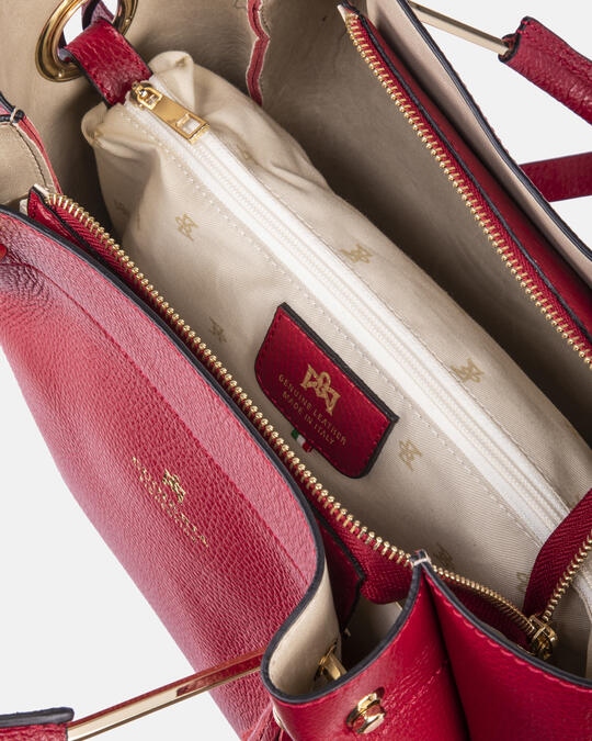Hand bag in hammered calf leather ROSSO Cuoieria Fiorentina