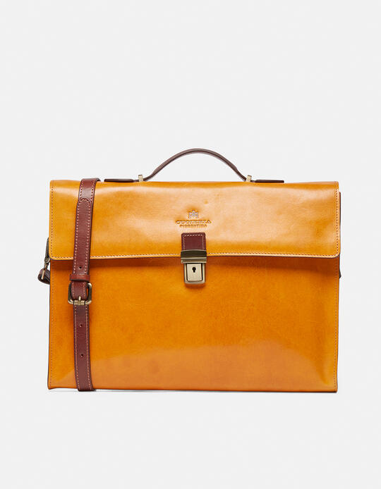 Warm and Colour leather briefcase with side zips GIALLOBICOLORE Cuoieria Fiorentina