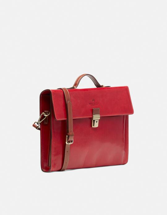 Warm and Colour leather briefcase with side zips ROSSOBICOLORE Cuoieria Fiorentina