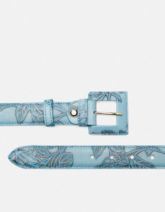 Cintura Mimì da donna media in pelle stampata a rose con fibbia fasciata Mimì CELESTE Cuoieria Fiorentina