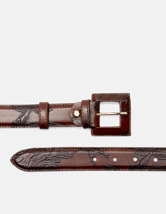 Cintura Mimì da donna media in pelle stampata a rose con fibbia fasciata Mimì MOGANO Cuoieria Fiorentina