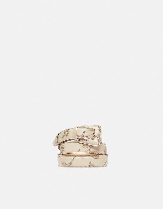Cintura Mimì da donna media in pelle stampata a rose con fibbia fasciata Mimì TAUPE Cuoieria Fiorentina