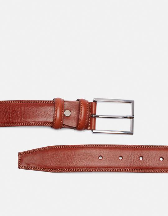 Elegant Leather Belt MARRONE Cuoieria Fiorentina