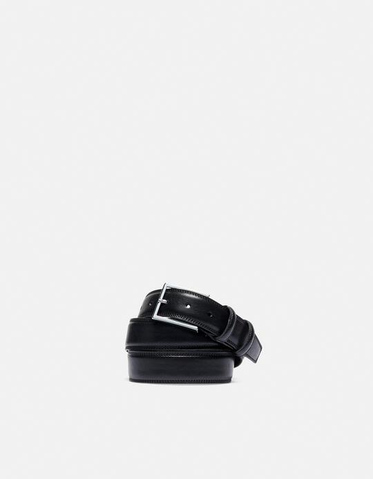 Elegant Leather Belt NERO Cuoieria Fiorentina