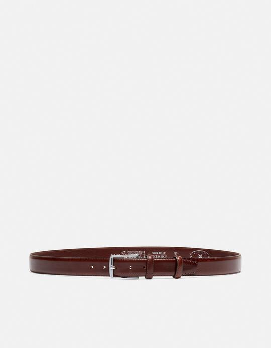 Elegant Leather Belt with squared buckle height, 3,5 cm TESTA DI MORO Cuoieria Fiorentina