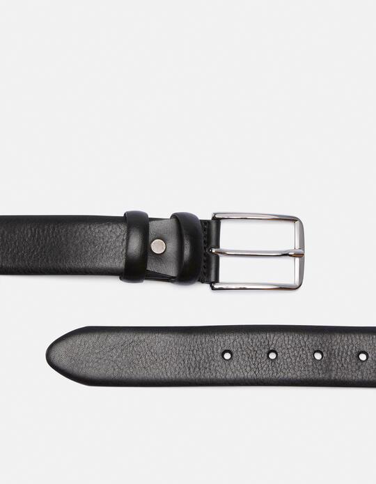Cintura Classica in pelle con cucitura a contrasto NERO Cuoieria Fiorentina