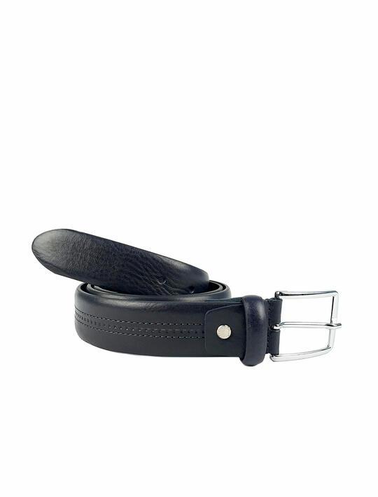 Cintura Classica in cuoio doppia cucitura centrale a contrasto BLU Cuoieria Fiorentina