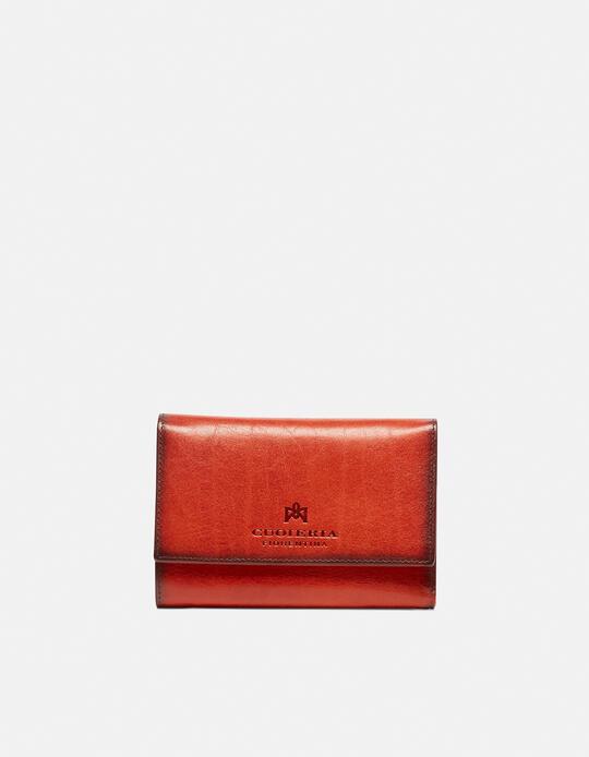 Warm and colour portafoglio medio anti-rfid in cuoio bifold con bordo effetto bruciato ARANCIO Cuoieria Fiorentina