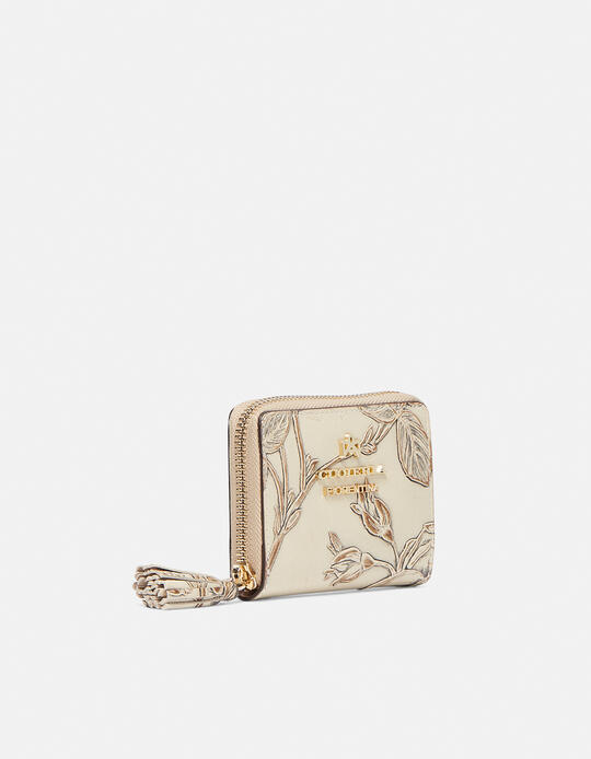 Mini accordion wallet in rose embossed printed leather Mimì TAUPE Cuoieria Fiorentina